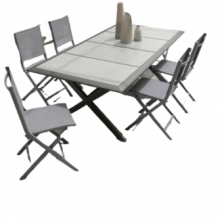Table Ceramo + 6 chaises couleur taupe