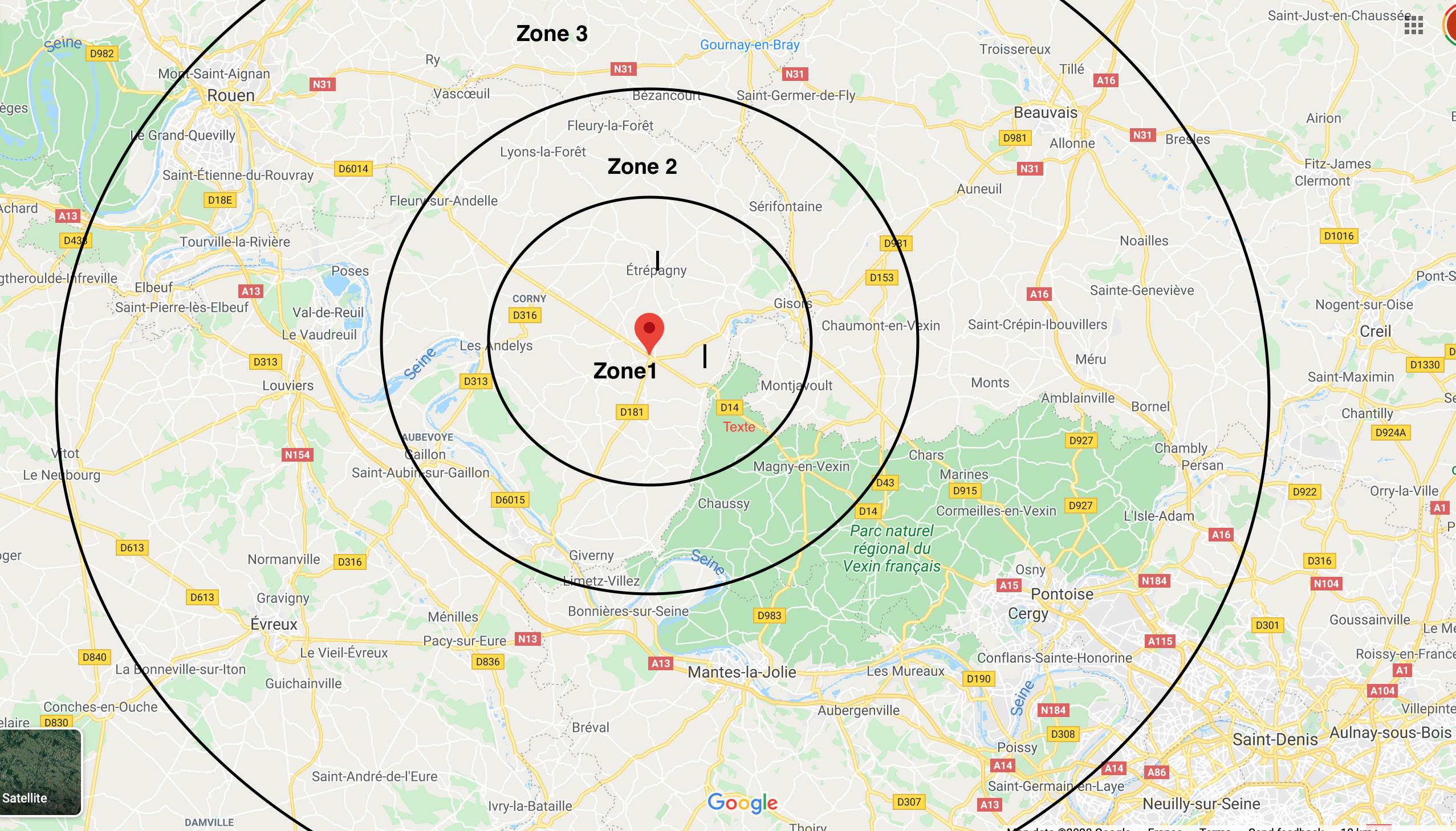 Carte des zones de livraison